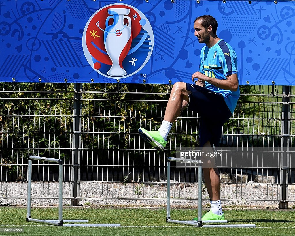 <a gi-track='captionPersonalityLinkClicked' href=/galleries/search?phrase=Giorgio+Chiellini&family=editorial&specificpeople=605793 ng-click='$event.stopPropagation()'>Giorgio Chiellini</a> of Italy in action during the training session at 'Bernard Gasset' Training Center on June 28, 2016 in Montpellier, France.