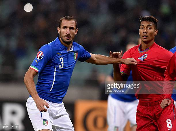 Giorgio Chiellini of Italy in action during the UEFA Euro 2016 qualifying football match between Azerbaijan and Italy at Olympic Stadium on October...