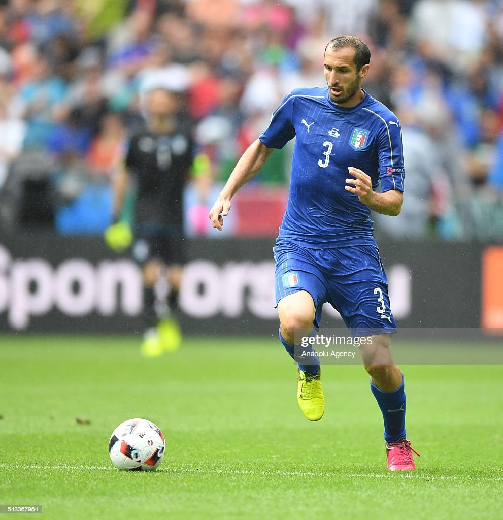 Giorgio Chiellini of Italy in action during the UEFA Euro 2016 round of 16 football match between Italy and Spain at Stade de France in Paris, France on June 27, 2016.