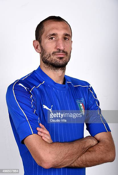 Giorgio Chiellini of Italy poses during the official portrait session at Coverciano on November 10 2015 in Florence Italy