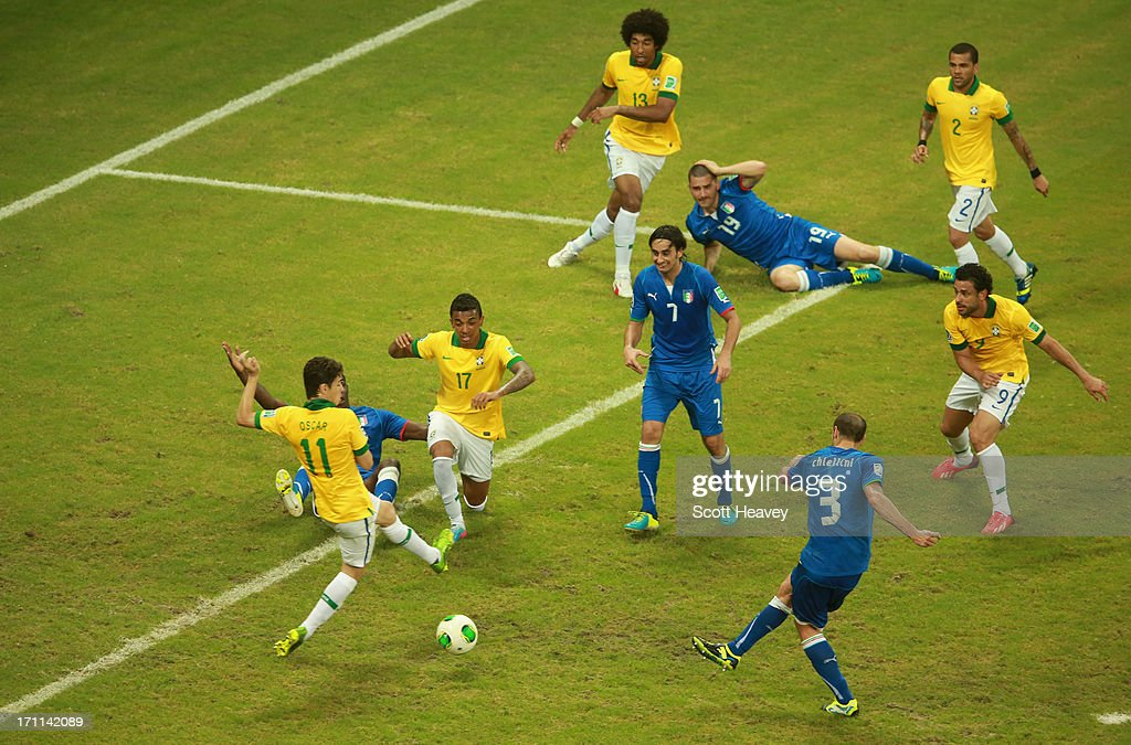 Giorgio Chiellini of Italy (3) scores their second goal during the FIFA Confederations Cup Brazil 2013 Group A match between Italy and Brazil at Estadio Octavio Mangabeira (Arena Fonte Nova Salvador) on June 22, 2013 in Salvador, Brazil.