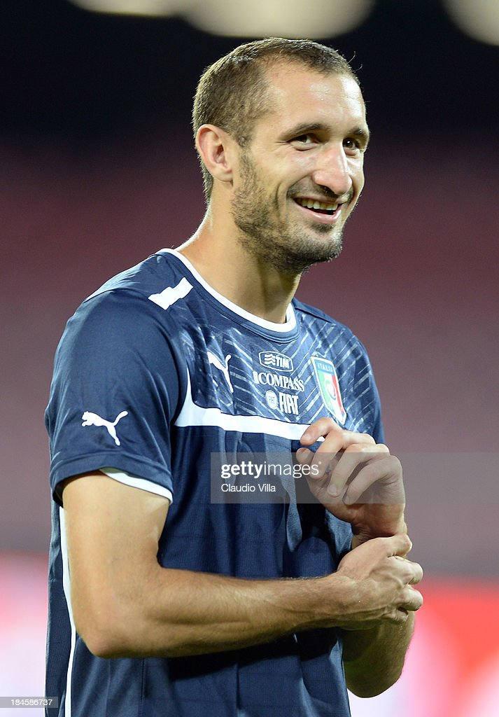 Giorgio Chiellini of Italy smiles during a training session on October 14, 2013 in Naples, Italy.