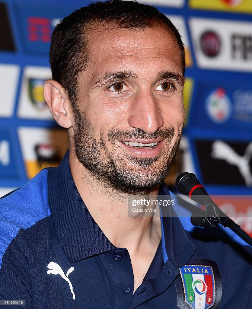 <a gi-track='captionPersonalityLinkClicked' href=/galleries/search?phrase=Giorgio+Chiellini&family=editorial&specificpeople=605793 ng-click='$event.stopPropagation()'>Giorgio Chiellini</a> of Italy speaks to the media during a press conference at the club's training ground at Coverciano on May 27, 2016 in Florence, Italy.
