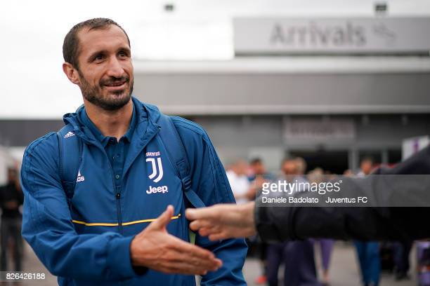 Giorgio Chiellini of Juventus arrives on August 4 2017 in London United Kingdom