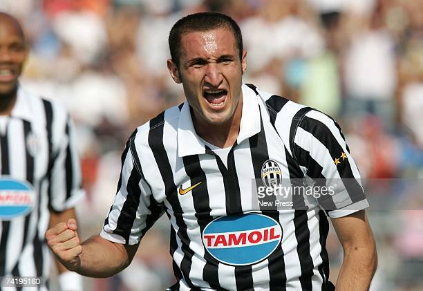 Giorgio Chiellini of Juventus celebrates after scoring during the Serie B match between Arezzo and Juventus on May 19 2007 in Arezzo Italy With their...