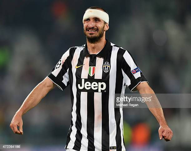Giorgio Chiellini of Juventus celebrates victory after the UEFA Champions League semi final first leg match between Juventus and Real Madrid CF at...