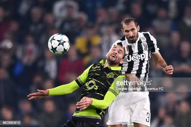 Giorgio Chiellini of Juventus clashes during the UEFA Champions League group D match between Juventus and Sporting CP at Allianz Stadium on October...