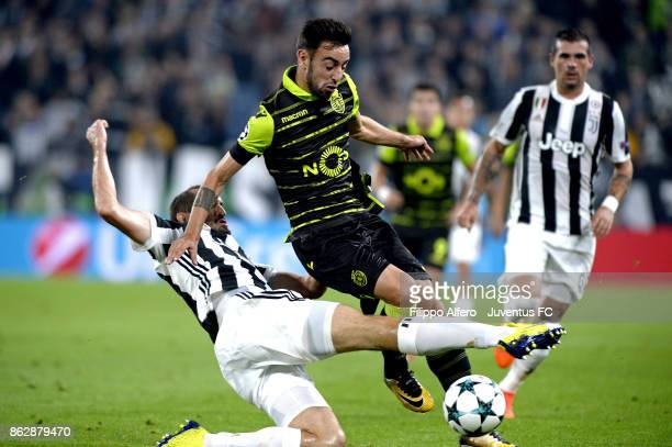 Giorgio Chiellini of Juventus competes for the ball during the UEFA Champions League group D match between Juventus and Sporting CP at Allianz...