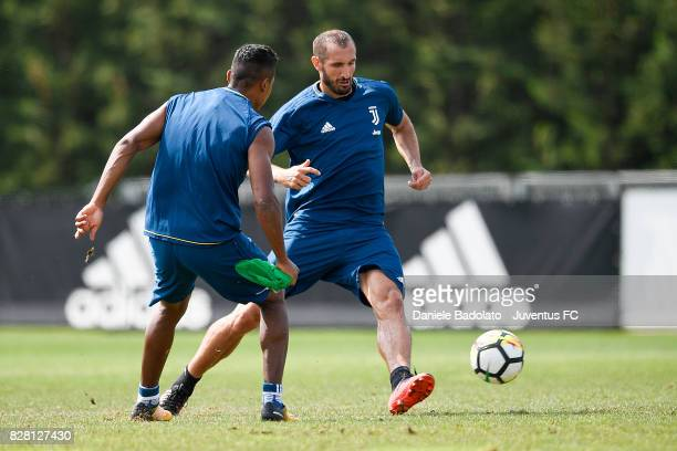Giorgio Chiellini of Juventus during a training session on August 9 2017 in Vinovo Italy