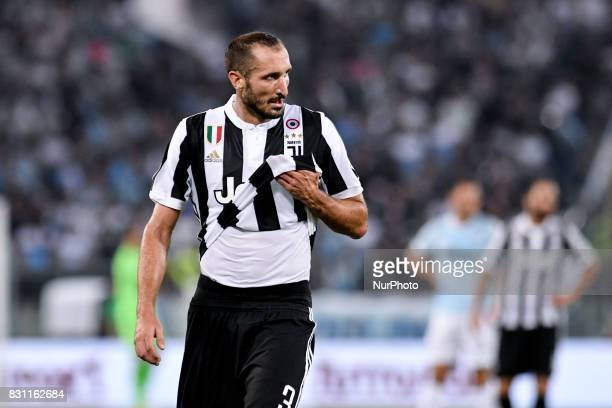 Giorgio Chiellini of Juventus during the Italian Supercup Final match between Juventus and Lazio at Stadio Olimpico Rome Italy on 13 August 2017