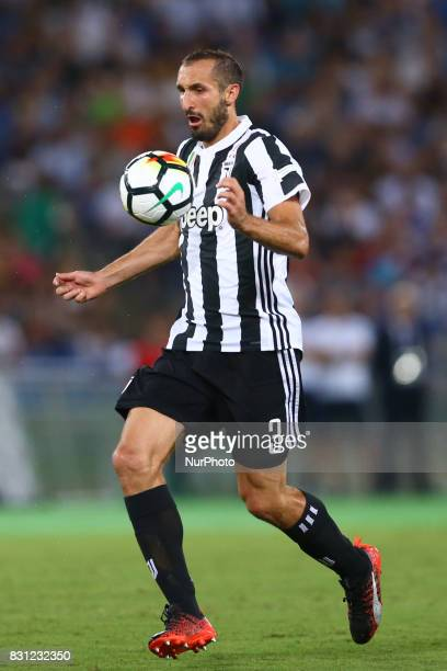 Giorgio Chiellini of Juventus during the Italian Supercup match between Juventus and SS Lazio at Stadio Olimpico on August 13 2017 in Rome Italy