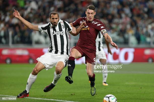 Giorgio Chiellini of Juventus FC and Andrea Belotti battle for the ball during the Serie A football match between Juventus FC and Torino FC Juventus...