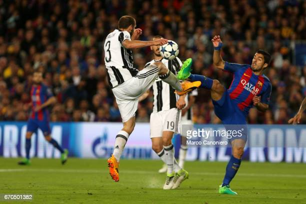 STADIUM BARCELONA SPAIN Giorgio Chiellini of Juventus Fc and Luis Suarez of Fc Barcelona battle for the ball during the UEFA Champions League quarter...