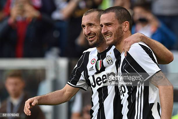 Giorgio Chiellini of Juventus FC celebrates after a goal with team mate Leonardo Bonucci during the Serie A match between Juventus FC and UC...
