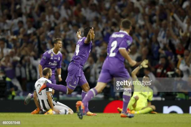 Giorgio Chiellini of Juventus FC Cristiano Ronaldo of Real Madrid Casemiro of Real Madrid Daniel Carvajal of Real Madrid goalkeeper Gianluigi Buffon...