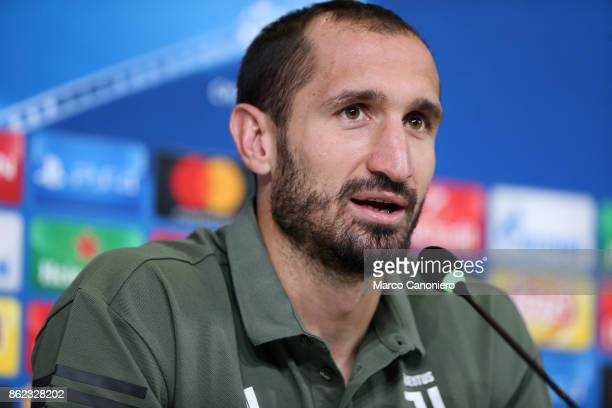 Giorgio Chiellini of Juventus FC during the Juventus FC press conference on the eve of the UEFA Champions League football match between Juventus FC...