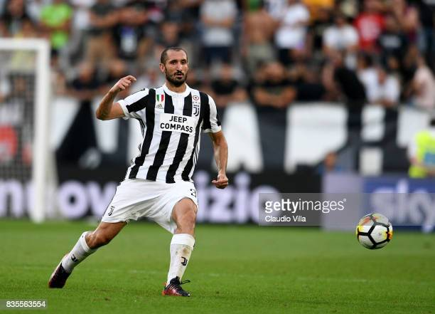 Giorgio Chiellini of Juventus FC in action during the Serie A match between Juventus and Cagliari Calcio at Allianz Stadium on August 19 2017 in...