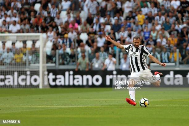Giorgio Chiellini of Juventus FC in action during the Serie A football match between Juventus FC and Cagliari Calcio Juventus Fc wins 30 over...