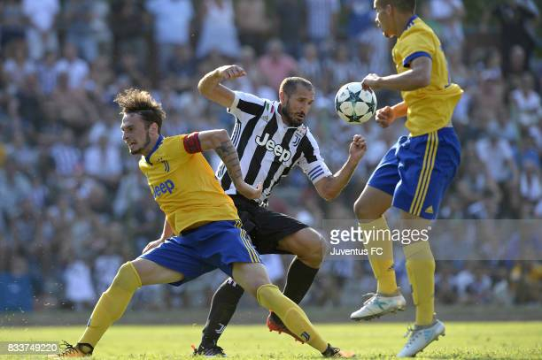 Giorgio Chiellini of Juventus fights for the ball during the preseason friendly match between Juventus A and Juventus B on August 17 2017 in Villar...