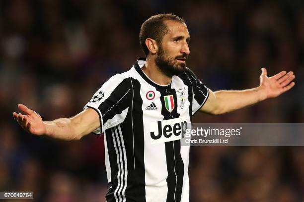 Giorgio Chiellini of Juventus gestures during the UEFA Champions League Quarter Final second leg match between FC Barcelona and Juventus at Camp Nou...