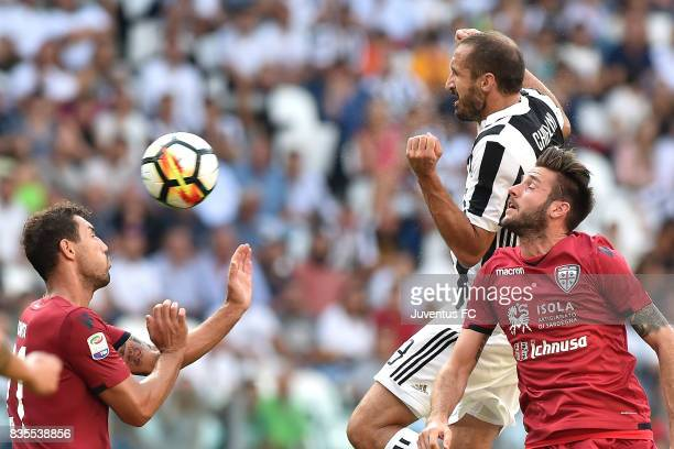 Giorgio Chiellini of Juventus heads the ball during the Serie A match between Juventus and Cagliari Calcio at Allianz Stadium on August 19 2017 in...
