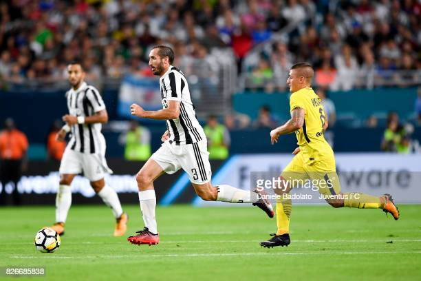 Giorgio Chiellini of Juventus in action during the International Champions Cup 2017 match between Paris Saint Germain and Juventus at Hard Rock...