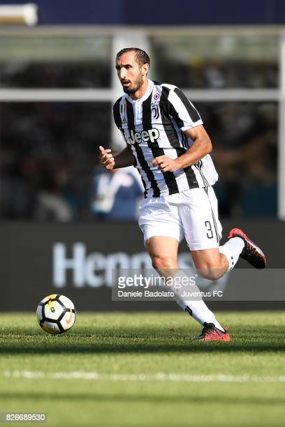 Giorgio Chiellini of Juventus in action during the International Champions Cup 2017 match between AS Roma and Juventus at Gillette Stadium on July 30...