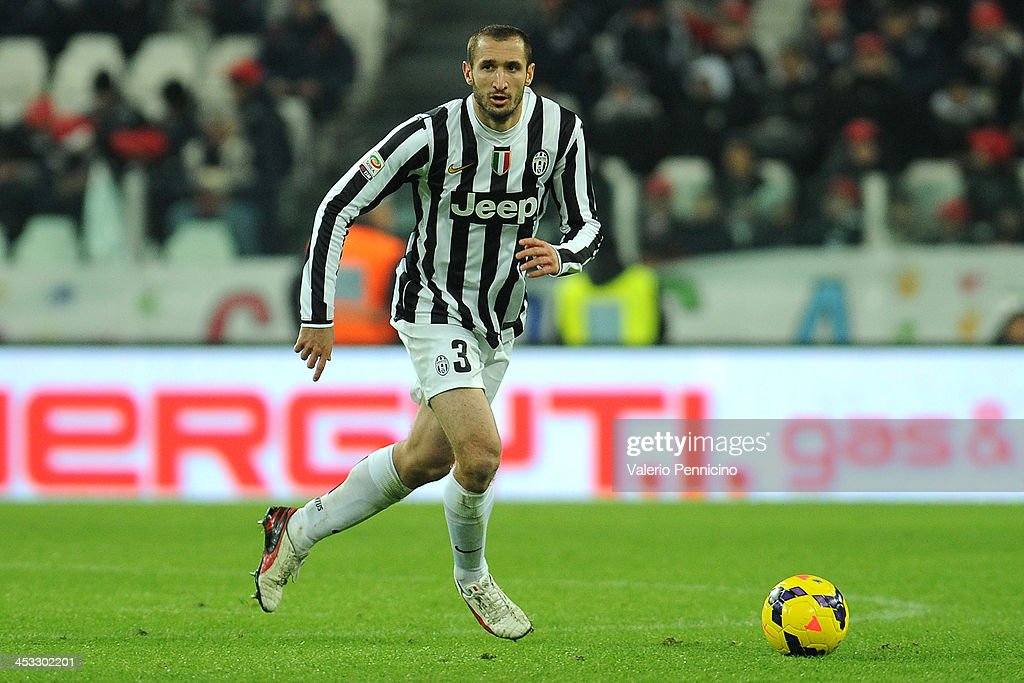 Giorgio Chiellini of Juventus in action during the Serie A match between Juventus and Udinese Calcio at Juventus Arena on December 1, 2013 in Turin, Italy.