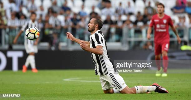 Giorgio Chiellini of Juventus in action during the Serie A match between Juventus and Cagliari Calcio at Allianz Stadium on August 19 2017 in Turin...