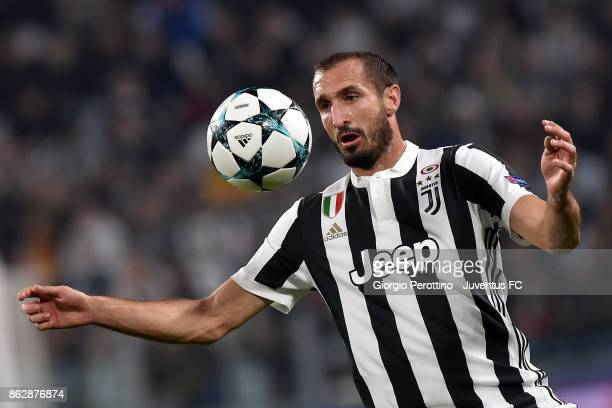 Giorgio Chiellini of Juventus in action during the UEFA Champions League group D match between Juventus and Sporting CP at Allianz Stadium on October...