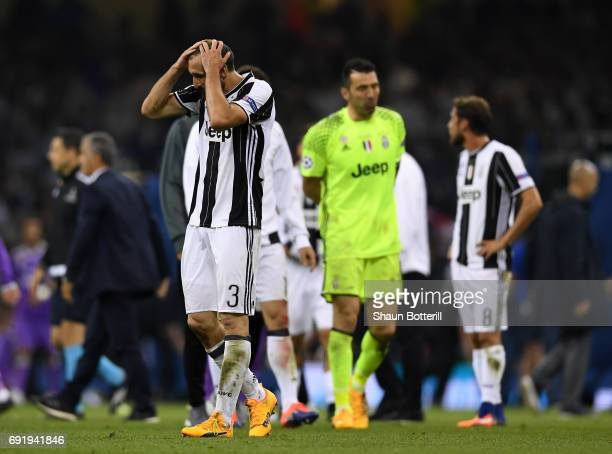 Giorgio Chiellini of Juventus is dejected after the UEFA Champions League Final between Juventus and Real Madrid at National Stadium of Wales on June...