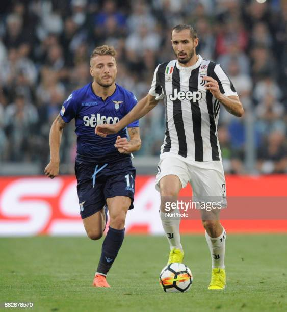 Giorgio Chiellini of Juventus player and Ciro Immobile of Lazio player during the match valid for Italian Football Championships Serie A 20172018...