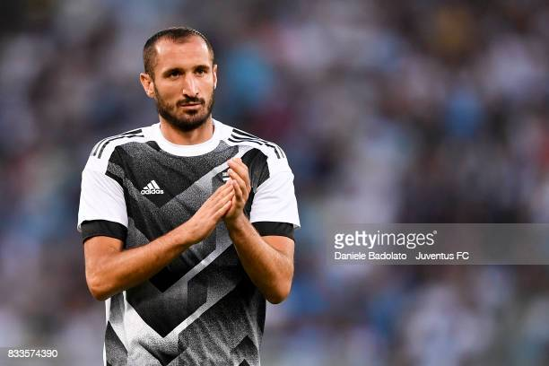 Giorgio Chiellini warm up during the Italian Supercup match between Juventus and SS Lazio at Stadio Olimpico on August 13 2017 in Rome Italy