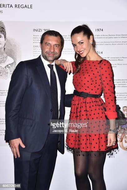 Giorgio Damiani and Laura Barriales attend a dinner for 'Damiani Un Secolo Di Eccellenza' at Palazzo Reale on March 21 2017 in Milan Italy