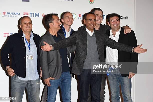 Giorgio Gherarducci Carlo Taranto Nicola Savino Carlo Conti Marco Santin and Max Giusti attend a photocall at 66 Sanremo Festival at Teatro Ariston...