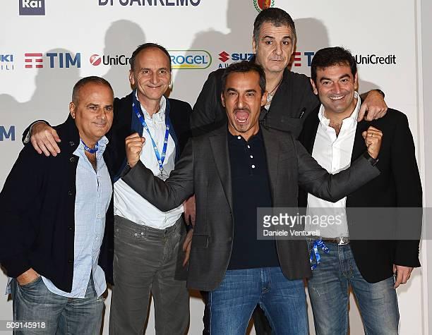Giorgio Gherarducci Carlo Taranto Nicola Savino Marco Santin and Max Giusti attend a photocall at 66 Sanremo Festival at Teatro Ariston on February 9...