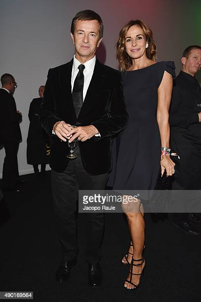 Giorgio Gori and Cristina Parodi attend amfAR Milano 2015 at La Permanente on September 26 2015 in Milan Italy