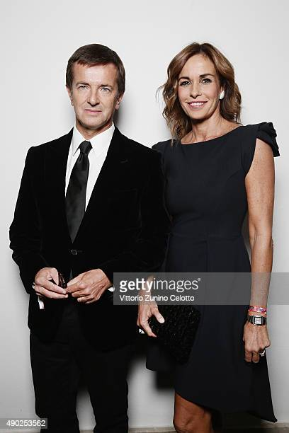 Giorgio Gori and Cristina Parodi pose at amfAR Milano 2015 at La Permanente on September 26 2015 in Milan Italy