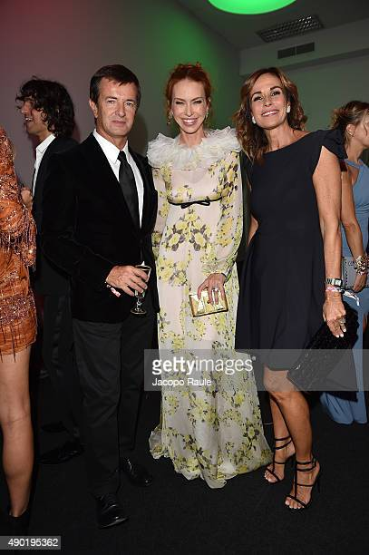 Giorgio Gori Yvonne Scio and Cristina Parodi attend amfAR Milano 2015 at La Permanente on September 26 2015 in Milan Italy