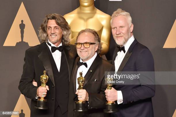 Giorgio Gregorini Alessandro Bertolazzi and Christopher Nelson attend the 89th Annual Academy Awards Press Room at Hollywood Highland Center on...