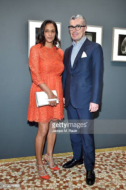 Giorgio Guidotti and Vanessa Riding attend Phillips private dinner and preview of selected works from 'The Great Wonderful' 100 Years Of Italian Art...