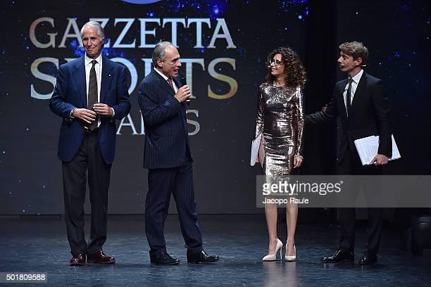 Giorgio Malago Andrea Monti Teresa Mannino and Giorgio Pasotti attend the 'Gazzetta Awards' on December 17 2015 in Milan Italy