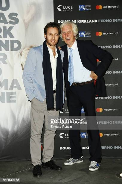 Giorgio Marchese and Douglas Kirkland attend 'Douglas Kirkland Fermo Immagine' exhibition opening at MAXXI Museum on October 17 2017 in Rome Italy