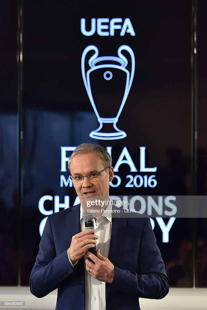Giorgio Marchetti speaks to the media during the Festival Gallery prior to the UEFA Champions League Final at Stadio Giuseppe Meazza on May 25, 2016 in Milan, Italy.
