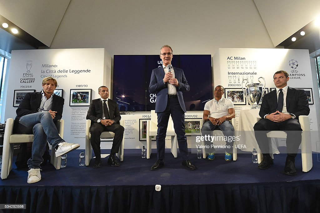 Giorgio Marchetti (C) speaks to the media during the Festival Gallery prior to the UEFA Champions League Final at Stadio Giuseppe Meazza on May 25, 2016 in Milan, Italy.