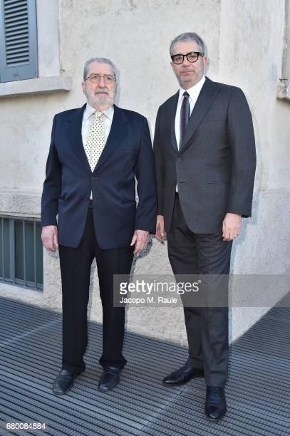 Giorgio Marconi and Gio Marconi attend a 'Private view of 'TV 70 Francesco Vezzoli Guarda La Rai' at Fondazione Prada on May 7 2017 in Milan Italy