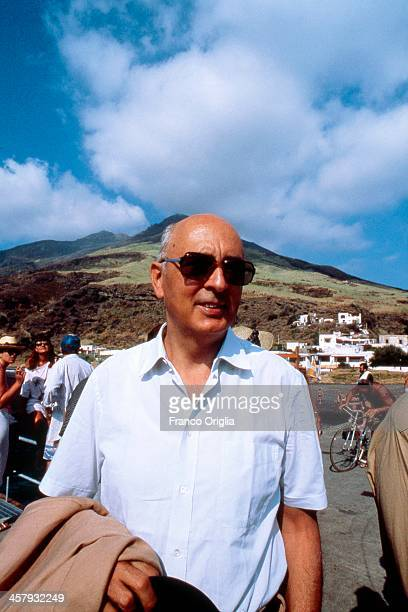 Giorgio Napolitano on holiday in the island of Stromboli on August 1989 in Stromboli Italy