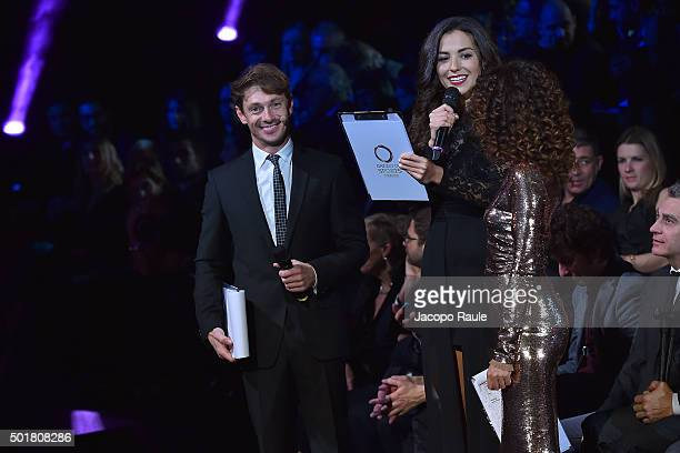 Giorgio Pasotti Laura Barriales and Teresa Mannino attend the 'Gazzetta Awards' on December 17 2015 in Milan Italy