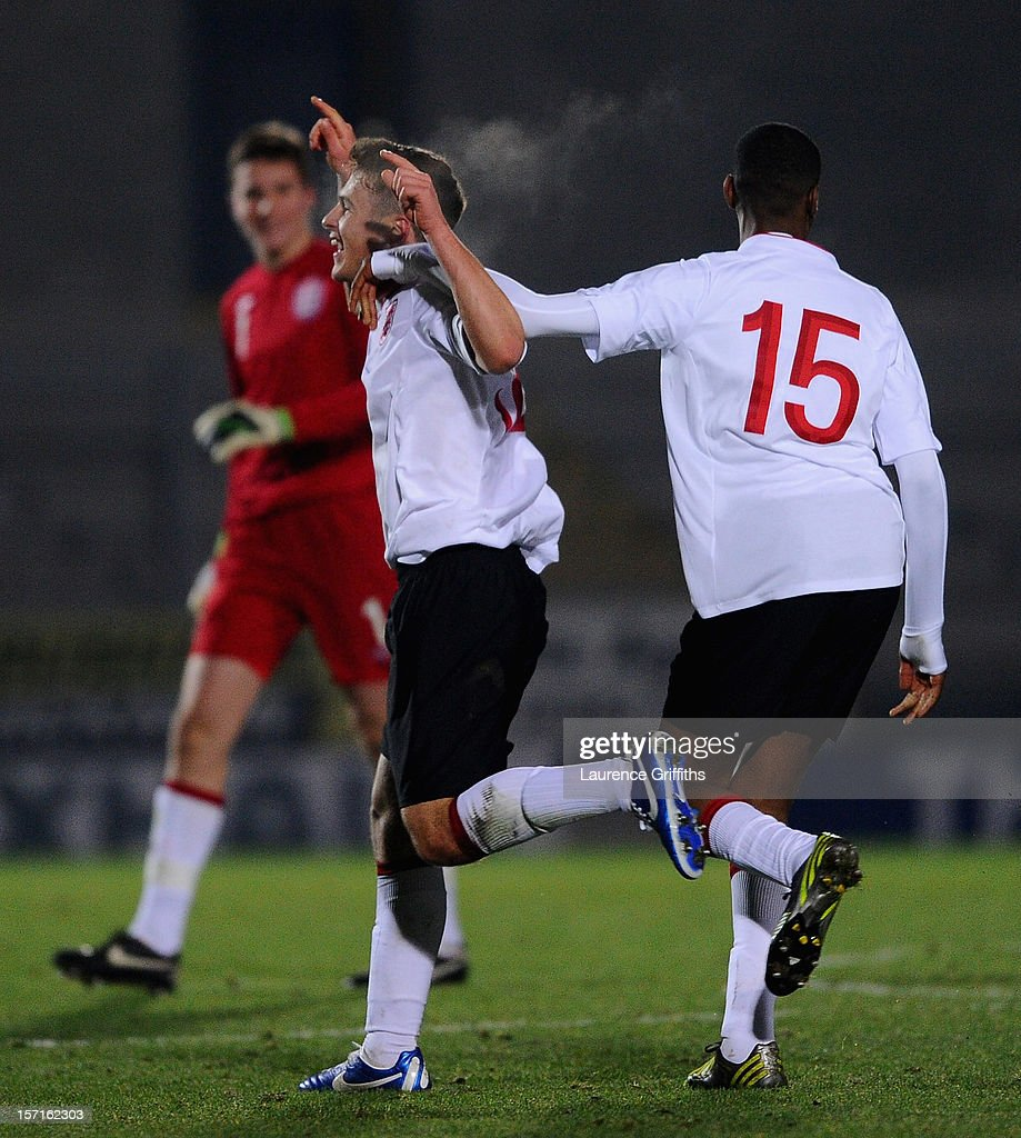 Giorgio Rasulo of England is congratulated on scoring the winning goal during the The Sky Sport Victory Shield match between England u16 and Scotland u16 at Pirelli Stadium on November 29, 2012 in Burton-upon-Trent, England.