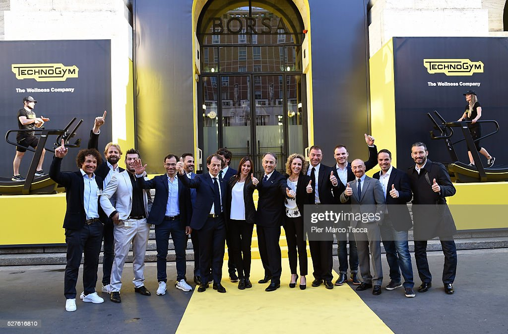 Giorgio Rocca, Madssimiliano Rosolino, Clemente Russo, Davide Cassani, Fabio Cannavaro, Pierluigi Alessandri, Demetri Albertini, Flavia Pennetta, Nerio Alessandri, Alessandra Sensini, Antonio Rossi, Giuliano Razzoli, Yuri Chechi, Peter Fill and Gianluca Zambrotta attend the Technogym Listing Ceremony at Palazzo Mezzanotte on May 3, 2016 in Milan, Italy. Technogym is the world leader in the construction of equipment for gyms, founded in 1983 by Nerio Alessandri, and was listed today on the Milan Stock Exchange.